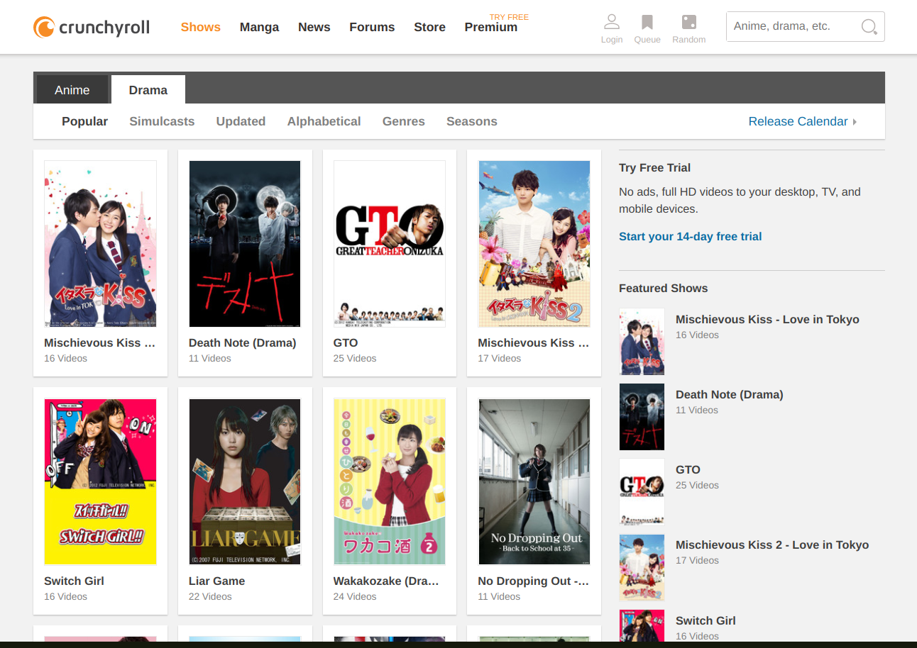 Places to legally watch Japanese dramas online for free